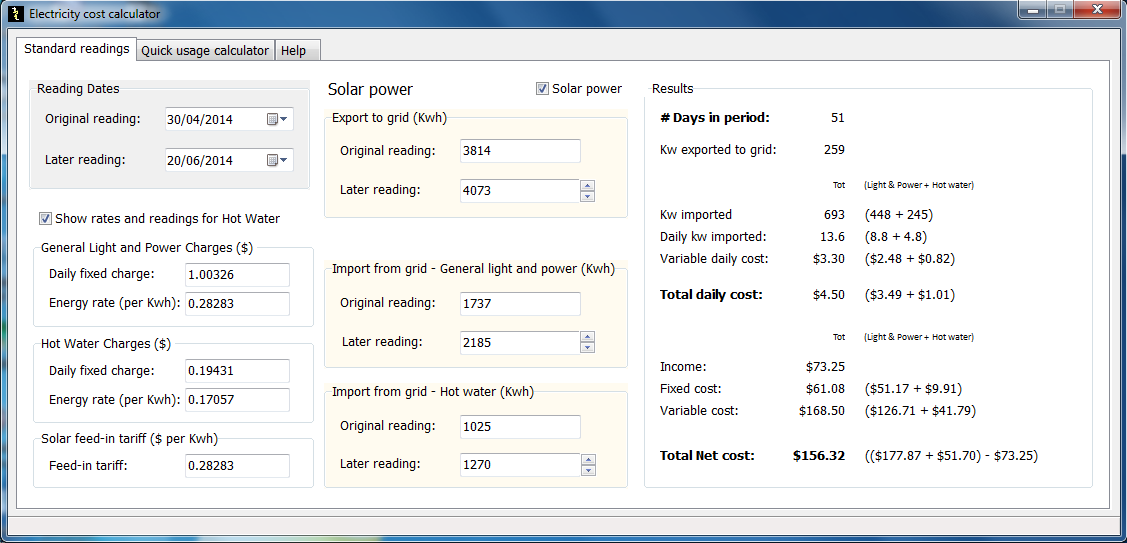 Solways Electricity Cost Calculator Screen shot
